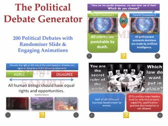[P4C] The Political Debate Generator - [200 Political Debates with 'Randomiser'] PHILOSOPHY FOR KIDS