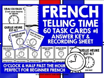FRENCH TELLING TIME CHALLENGE CARDS #1