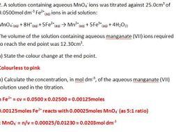Redox titration of permanganate and iron (II) worksheet by gerwynb ...