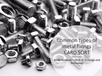 Common types of metal fixings CARD SORT
