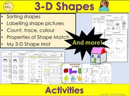 3D Shapes - Sorting, Count and Trace, 3D Shape Mat, Worksheets, Activities