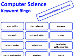 Computer Science keyword bingo game (Communication & the Internet)