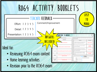 LO4 R064 Activity Booklet - Ideal Homework! (Cambridge National in Enterprise & Marketing)