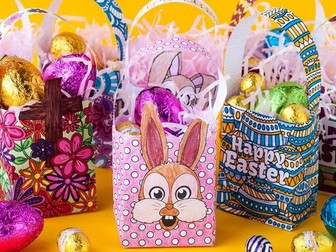 DIY Easter Gift Bag Templates (Set of 8) | Printable PDF templates to color + make a paper gift bag