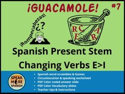 Spanish Puzzles & Games * Stem Changing Verbs (E>I) * Verbos con cambios radicales en español
