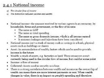 Edexcel Economics AS-level Unit 2.4 National Income: all the revision notes you need to know