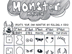 Monster Maker | Drawing Practice - Dice Activity Sheet