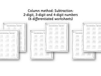 Year 3 / 4 Column method subtraction - differentiated worksheets - 2 digit, 3 digit, 4 digit numbers