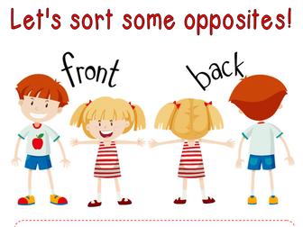 Sorting opposites Four worksheets