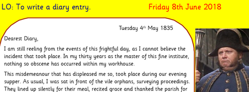 Oliver Twist Diary Entry Literacy Unit (Victorians Y4)