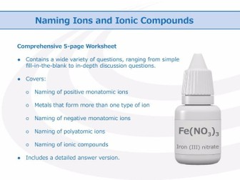Naming Ions and Ionic Compounds [Worksheet]