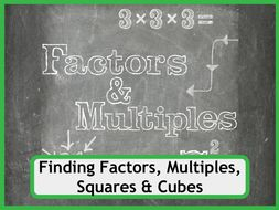 Finding Factors, Multiples, Squares and Cubes Worksheet Collection