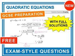 GCSE 9-1 Exam Question Practice (Quadratic Equations)