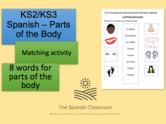 Spanish  - Parts of the Body Matching Activity