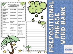 Prepositional Phrases Word Bank