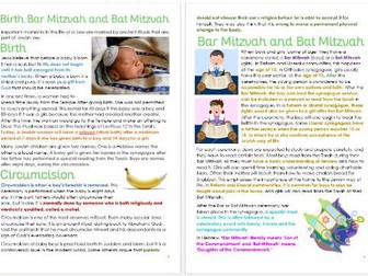 Judaism: Rituals: Birth, Bar and Bat Mitzvah Differentiated Information Sheets
