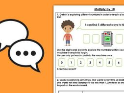 FREE Year 4 Multiply by 10 Autumn Block 4 Maths Discussion Problem