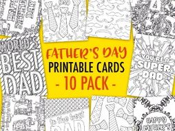 Fathers Day Printable Coloring Cards 10 Pack
