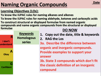 KS5 Chemistry: Naming Organic Compounds (AS Level)