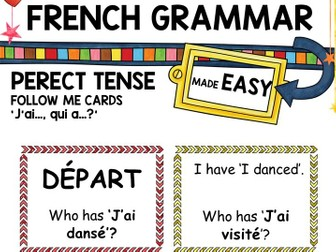 French Perfect Tense Follow Me Cards -er verbs