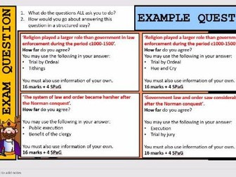 Lesson 10 GCSE Edexcel History Crime and Punishment: 16 marker practice,  advice and examples