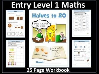 Fractions - Halves: AQA Entry Level Maths