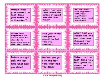 Past Perfect Questions Card Game 4 Pages = 36 Cards