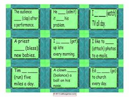 Present Simple Positive & Negative Statements with Contractions Cards 4 Pages = 36 Cards