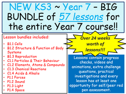 **BIG BUNDLE** KS3 ~ Year 7 ~ All Biology, Chemistry & Physics Lessons