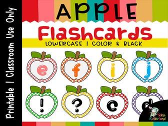 Apple Letter  Flashcards, Alphabet Letter Lowercase Cards, ABC Printables