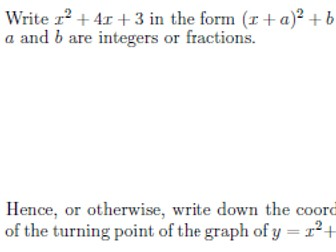 Completing the square and finding turning points worksheet (with solutions)