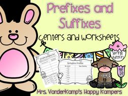 Prefixes and Suffixes: Centers and Worksheets [[Spring Edition]]