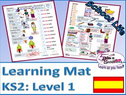 Primary KS2 Spanish LEARNING MAT: School Life (Level 1)