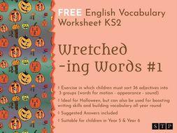 English Worksheet Vocabulary Halloween KS2 01