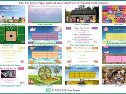 US Government and Citizenship Piggy Bank English Interactive PowerPoint Game