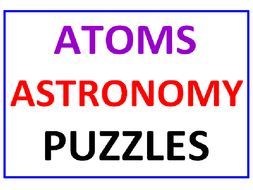 Atoms Word Search Puzzle PLUS Astronomy Word Search Puzzle