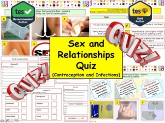 2017 - Sex and Relationships  (Contraception Quiz) - 7 rounds and 35+Qs' .Summer Quiz. End of term.