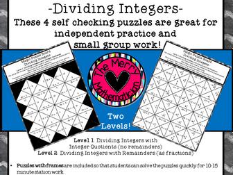 Dividing Integers Magic Puzzle Boards