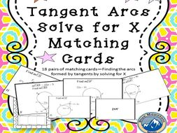 Tangent Arcs-Solve for X Matching Card Set
