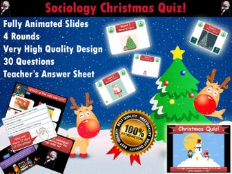 Sociology Christmas Quiz (GCSE/AS/A2) (Xmas, End of Term, Fun, GCSE, Revision, Keywords)