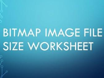 Bitmap image file size worksheet - WITH ANSWER SHEET
