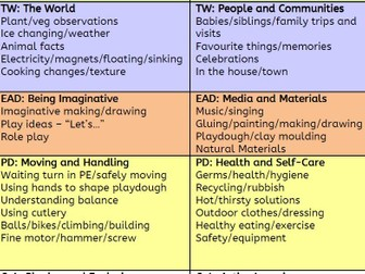 EYFS Observations 'Cheat Sheet' - Examples of evidence in each area of learning