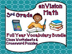 enVision Math Third Grade Cloze & Crossword Puzzle Vocabulary Bundle