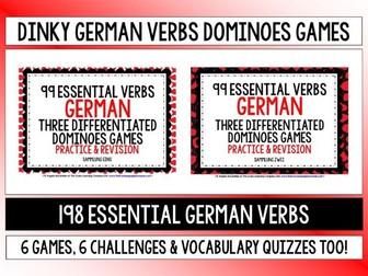 GERMAN VERBS (1&2) - 6 DIFFERENTIATED DOMINOES GAMES - 198 VERBS