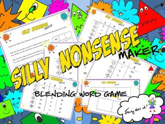 Silly Nonsense Maker - a blending word game for Phonics Screen preparation