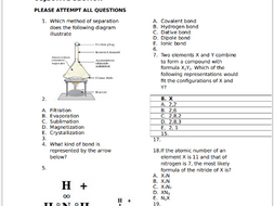 Chemistry Exam questions For Secondary School students