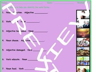 Word Forms 3 Photo Worksheet Set