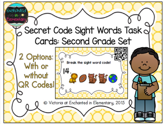 Secret Code Sight Words Task Cards: Second Grade Set