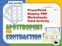 Apostrophes for Contractions: Presentation, Worksheets, Card activity.