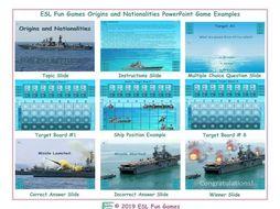 Origins and Nationalities English Battleship PowerPoint Game
